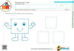 Repasa as líneas de los cuadrados y pinta con crayola gruesa.   Noción de figuras geométricas: el cuadrado 2 años  Haz clic en la imagen para descargar