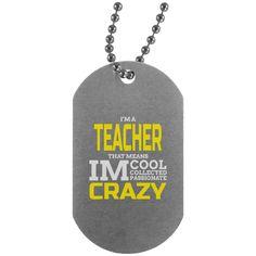 "I'm A Teacher Silver Dog Tag 30"" Chain Unisex Adult Men Women Jewelry Military Inspired Custom Print"