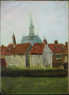 "Vincent van Gogh -- ""The New Church and Old Houses in The Hague"", August 1882. Oil on canvas, mounted on panel, 35.5 x 26 cm. Albricht Art Gallery, Oosterbeek, Netherlands."