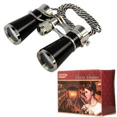 HQRP High Magnification 7x25 Elegant Black Pearl Binoculars / Opera Glasses w/ Crystal Clear Optic (CCO) Silver Trim for Races / Circus Show