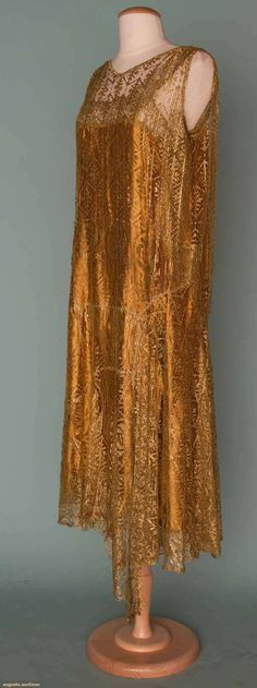 GOLD LACE PARTY DRESS, 1920s - All-over gold lace w/ copper rayon charmeuse underslip
