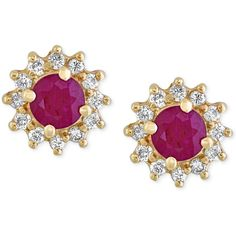 Amore by Effy Certified Ruby (5/8 ct. t.w.) and Diamond (1/4 ct. t.w.)... ($650) ❤ liked on Polyvore featuring jewelry, earrings, yellow gold, 14k stud earrings, ruby stud earrings, diamond earrings, 14k yellow gold earrings and 14k earrings