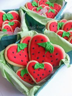 Strawberry Heart Cookies, Strawberry Hearts Baskets by fairytalefrosting, via Flickr