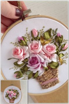 Silk Ribbon Embroidery Victorian bouquet of delicate roses in the basket is a beautiful embroidery hoop wall art for your living room,can be a perfect keepsake for your friend or Anniversary bouquet for your wife. It's ready to hang on the wall. Ribbon Embroidery Tutorial, Rose Embroidery, Silk Ribbon Embroidery, Embroidery Hoop Art, Embroidery Stitches, Embroidery Digitizing, Embroidery Materials, Embroidery Supplies, Embroidery Patterns Free