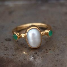 Ancient Roman Art Style Fresh Water Pearl with Emeralds Designer Ring Hammered Handmade 24K Yellow Gold Over 925 Sterling Silver by Atlantisfinejewels on Etsy https://www.etsy.com/listing/261541279/ancient-roman-art-style-fresh-water