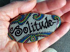 Solitude / Painted Rock / Sandi Pike Foundas / Cape Cod Sea Stone. $24,00, via Etsy.