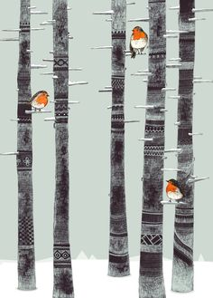 Robin Trees...  by Sandra Dieckmann, would love this print on my wall!