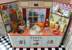 Vintage German Tin Toy Kitchen Metal Doll door DollEnthousiastHome