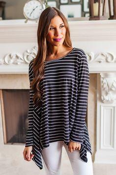 Black Striped Swing Top - Dottie Couture Boutique