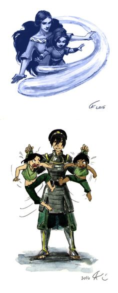 Like mother, like daughter & Beifong Family by Katara toph Older Avatar Aang, Avatar Legend Of Aang, Avatar The Last Airbender Funny, The Last Avatar, Team Avatar, Avatar Airbender, Legend Of Korra, Avatar Cartoon, Avatar Funny