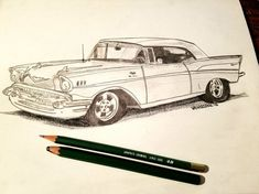 MY SALVAGED PAST Original Art By Scott D Van Osdol Item: Glossy POSTER print of my original artwork Subject: Vintage 1957 Chevy Bel Air (my original was sketched in pencil and may still be available inside my Etsy shop) Overall Sizes: 11 x 17 NOTE: The second photo is the professional
