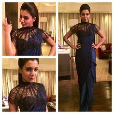 The Various Looks Of The Gorgeous Samantha! Saree Blouse Patterns, Saree Blouse Designs, Bridesmaid Saree, Saree Gown, Sari, Stylish Blouse Design, Stylish Sarees, Indian Wedding Outfits, Wedding Dress