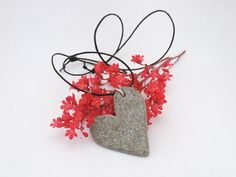 Heart shaped stone pendant  Stone heart by CiliArtAndDesign