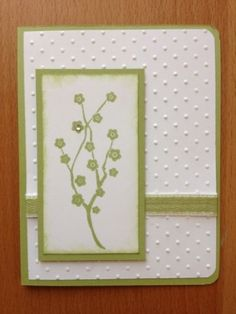 Elegant Blank Handmade Greeting Card With Single Leafy Green Branch | cardsbylibe - Cards on ArtFire