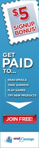 FREE $5 sign up bonus.  Make money in your spare time. SendEarnings® - Earn Cash for E-Mail, Surveys, Games, and More!  -- Make money from home.  Free money online.