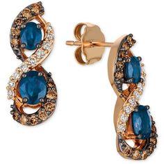 Le Vian Chocolatier Blueberry Sapphire (1-1/8 ct. t.w.) & Diamond (5/8... ($1,800) ❤ liked on Polyvore featuring jewelry, earrings, sapphire, drop earrings, 14 karat white gold earrings, white diamond earrings, sapphire drop earrings and 14 karat gold earrings