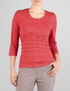Üppig verziertes 3/4 Arm Shirt,koralle