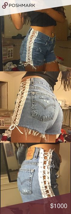 OFFERS side lace up distressed Levi shorts High waisted and so cute! Hand made with love by me. Similar to LF. I AM TAKING OFFERS. THE STARTING PRICE IS $95. LF Shorts Jean Shorts
