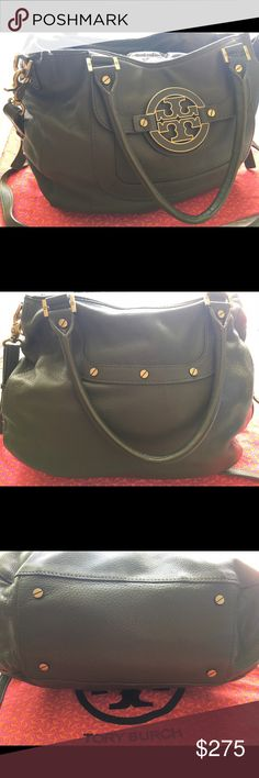 AUTHENTIC TORY BURCH BAG Gently used Tory Burch Olive green Amanda leather hobo bag with gold hardware. Has two top handles and an adjustable crossbody strap. Bag very well kept and clean. Please see photos. Price is firm, unless purchased on ♏️ercari. Dust bag and mirror included. Tory Burch Bags Crossbody Bags