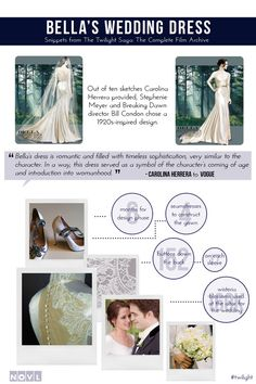 Bella's Wedding Dress:  Even though we saw it years ago, we're still drooling over Bella and Edward's Twilight wedding (yes, really). We especially love the details above, but there are many, many more in The Twilight Saga Film Archive – including up close images of the nightmare dress!