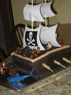 Candles on the side of pirate birthday cake. wanting to do a pirate themed party Brodie.. love this cake