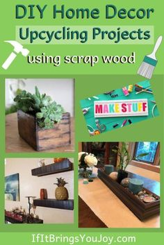 Simple inexpensive DIY upcycling projects using wood you may have leftover from other home projects. Eco-friendly home decor on a budget. Diy Pallet Projects, Cool Diy Projects, Home Projects, Upcycling Projects, Trendy Home Decor, Diy Home Decor On A Budget, Unique Home Decor, Hobbies To Try, Trash To Treasure