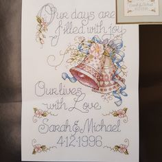 """Vintage cross stitch kit """"Our Days"""" by Janlynn on  14 count aida cloth that is like new and available at KindredClassics on Etsy Vintage Cross Stitches, Special People, Letters And Numbers, Hand Stitching, Needlepoint, Wedding Gifts, Etsy Seller, Old Things, Tapestry"""