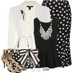 Bow Bag polka dots skirt and blazer