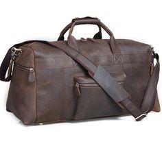 "Men's Genuine Leather Cowhide 23"" Large Capacity Travel Luggage Duffle Gym Bags #coberlegend #DuffleGymBag"