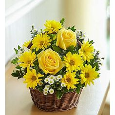 Order Basket of Sunshine™ flower arrangements from All Flowered Up Too, your local Lubbock, TX florist. Send Basket of Sunshine™ floral arrangement throughout Lubbock and surrounding areas. Basket Flower Arrangements, Rose Arrangements, Beautiful Flower Arrangements, Beautiful Flowers, Yellow Flowers, Spring Flowers, Bright Flowers, Bright Colors, Basket Of Sunshine