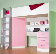 High Sleeper Cabin bed with Colour options ideal childrens safe bed with wardrobe and desk Cambridge High Sleeper Cabin Bed, Cabin Bunk Beds, Mid Sleeper, Cabin Bed With Desk, Bunk Bed With Desk, Kids Beds With Storage, Bed Storage, Paper Storage, Storage Chest