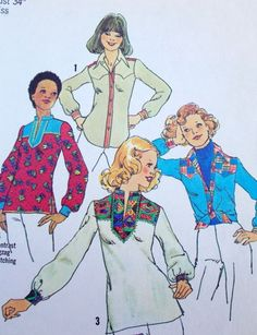 Simplicity 7143 Vintage Sewing Pattern - 1970's Misses' Shirts Size 12 Bust 34 4 shirt versions. Women's long sleeve shirts; gathered buttoned cuffs.1975 sewing pattern. Condition: Cut, complete 15 pi