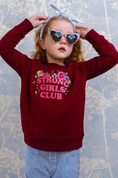 Little Floral Strong Girls Club Sweatshirt. #muthahood #christmasgiftsfortoddlers #christmasgiftsforkids #holidaygiftsforchildren #christmaspresentsforkids Christmas Presents For Kids, Kids Christmas, Floral Sweater, Strong Girls, Girls Club, Stylish Kids, Three Kids, 6 Years, Beautiful Outfits