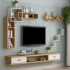 Wall-Mounted TV Cabinet Wall Shelf with Drawers Floating Shelf TV Multimedia Storage Shelf Multifunctional Display Shelf Storage Cabinet (Color : F, Size : Tv Unit Interior Design, Tv Unit Furniture Design, Bedroom Furniture Design, Home Decor Furniture, Diy Home Decor, Tv Cabinet Design Modern, Wooden Furniture, Furniture Ideas, Home Decor Shelves