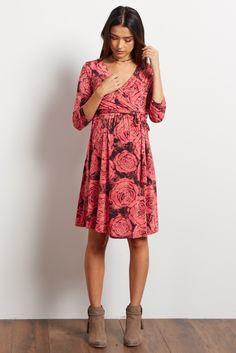 7f4f0c827c5 Red Floral Draped 3 4 Sleeve Maternity Nursing Wrap Dress