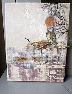 Art Journey - Unmounted Rubber Stamps - Owls-Set of 6 Unmounted rubber stamps. Atc Cards, Bird Cards, Autumn Crafts, Autumn Art, Card Creator, Mixed Media Techniques, Creative Art, Creative Design, Stencil Art