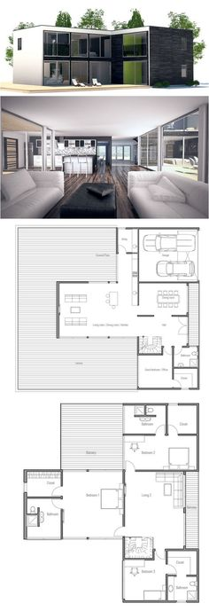 Contemporary home plan with three big bedrooms and separate bathrooms. Family room on the second floor.