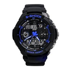 Happy Digital Men Digital Calendar Electronic Waterproof and Shockproof Multifunctional Outdoor Sports Wristwatchesblue >>> Click image to review more details.Note:It is affiliate link to Amazon.