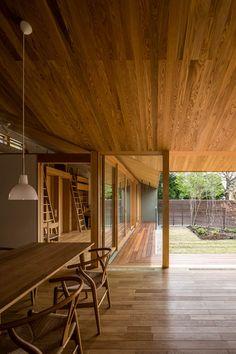 Atrium House, Courtyard House, Modern Japanese Interior, Modern Small House Design, Peaceful Home, Home Hacks, Ceiling Design, Interior Architecture, Nakayama