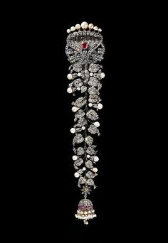 Plait Ornament (jadanagam), 1890–1910, South India. Silver, set with diamonds, rubies, and pearls