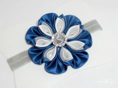 Baby headband with kanzashi flower by EilatanDesigns on Etsy