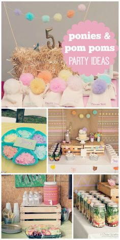 A ponies and pom pom rainbow themed girl birthday party with crafts and pony rides!  See more party ideas at CatchMyParty.com!