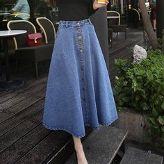 New Autumn And Winter Women Denim Skirt High Waist Faldas Mujer Breasted Slim Long Saias Wild Jupe Female