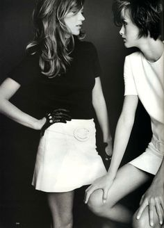 Kate Moss & Trish Goff by Mario Testino for Harper's Bazaar, July 1995