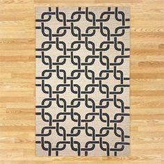 Chains Indoor-Outdoor Rug, Black/Neutral | World Market