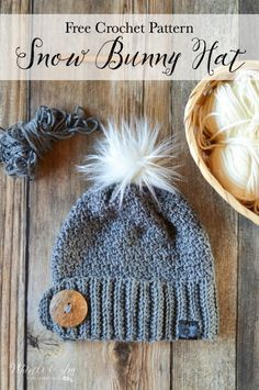 Free Crochet Pattern: Crochet Snow Bunny Hat - This cute slouchy has a beautiful texture and has a thick, cozy brim to keep your ears snuggly warm. Top it with a fur pom-pom for the perfect look.