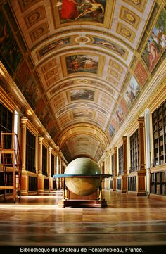 The famous LIBRARY at the The PALACE  FONTAINEBLEAU. Located 55 kilometres from the centre of Paris. One of the largest French royal châteaux with over 1500 rooms in the heart of 130 acres of parkland and gardens, Fontainebleau is the only royal and imperial castle inhabited continuously for seven centuries. http://www.musee-chateau-fontainebleau.fr/