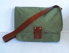 Khaki Green Waxed Canvas Single Leather Strap by ottobags on Etsy, $79.00