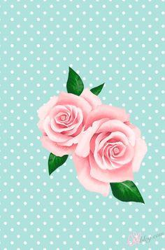 rose polka dot blue