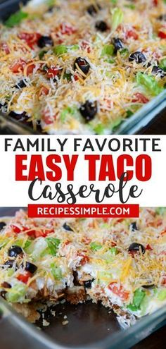 This taco casserole is a family favorite dinner that is full of delicious Tex-Mex flavors. #tacocasserole #tacocasserolebake #mexicanfoodrecipes #casserolerecipes #recipessimple via @judyjwilson